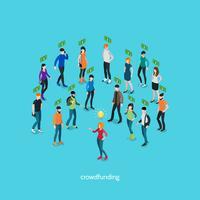 Concept isométrique de crowdfunding vecteur