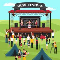 Composition du festival de musique en plein air vecteur