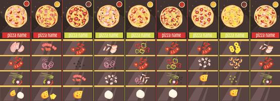 Modèle de menu de style de dessin animé de pizza