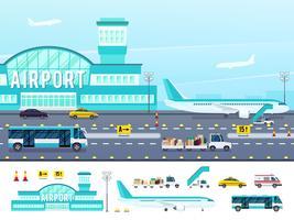 Illustration de style plat aéroport vecteur