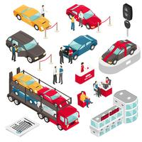 Illustration vectorielle isométrique showroom concessionnaire auto vecteur