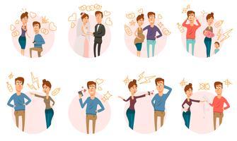 Collection d'icônes de divorce mariage vecteur