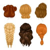 Collection d'icônes de vue arrière de coiffure femme vecteur