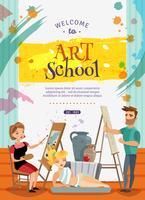 Affiche d'offre de classes d'école d'art visuel vecteur