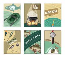 Collection de 6 affiches d'affiches de pêche en eau douce