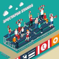 Illustration isométrique des stands de spectateurs avec ventilateurs vecteur