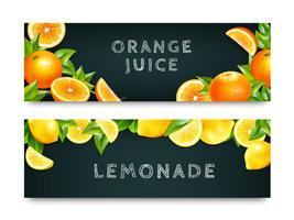 Jus d'orange limonade 2 bannières ensemble vecteur