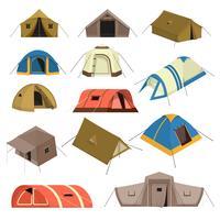Ensemble de tentes touristiques colorées vecteur