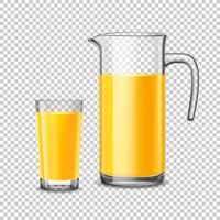 Verre et pichet avec jus d'orange sur fond transparent