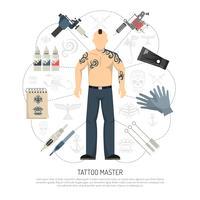 Concept de studio de tatouage vecteur
