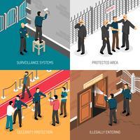 Service de sécurité 4 Place isométrique des icônes