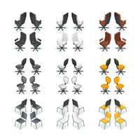 Ensemble d'icônes de chaise de bureau