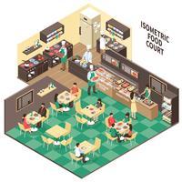 Intérieur du restaurant de restauration rapide isométrique vecteur