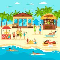 Illustration de style plat de plage