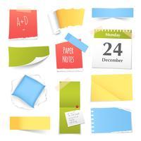 Collection de notes de papier colorées réalistes