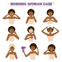 jeu d'icônes de routine matin femme afro américaine vecteur