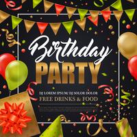 Affiche de fête d'anniversaire vecteur