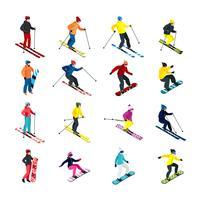 Set isométrique de ski vecteur