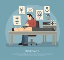 Composition de studio de tatouage vecteur