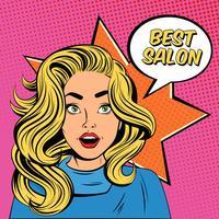 Affiche de publicité de salon de coiffure de jeune femme vecteur