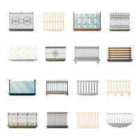 Collection d'icônes plates de balustrades design vecteur