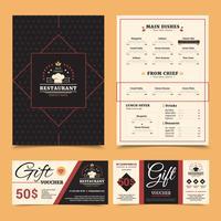 Ensemble de cartes-cadeaux de menu de restaurant vecteur