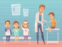Illustration d'enfants au médecin