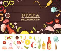 Concept de style de dessin animé de pizza vecteur