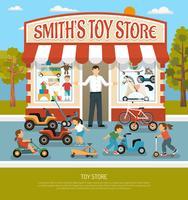 Fond plat de magasin de jouets vecteur