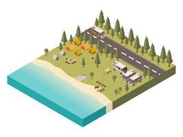 Camping avec illustration isométrique de route vecteur