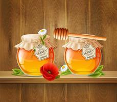 Composition de deux pots de miel vecteur