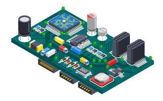 Concept isométrique de circuit imprimé vecteur