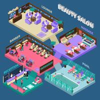 Illustration isométrique de salon de beauté de plusieurs étages
