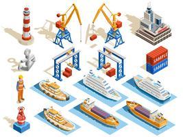 Ensemble isométrique de port de mer vecteur