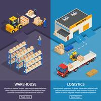 Bannières verticales de logistique et d'entrepôt vecteur