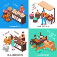 Ensemble de compositions de marché de marchand de légumes vecteur