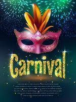 Affiche de fond de mascarade de carnaval vecteur