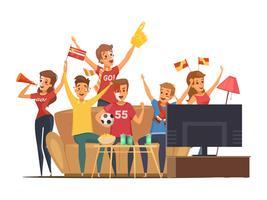 Composition de fans de sport devant la télévision vecteur