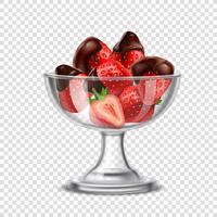 Composition réaliste de fraises au chocolat vecteur