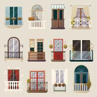 Collection d'éléments de balcon vintage classique et moderne vecteur