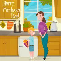 Fond de bande dessinée fête des mères vecteur