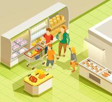 Famille, épicerie, supermarché, vue isométrique vecteur