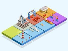 Concept isométrique de logistique maritime vecteur