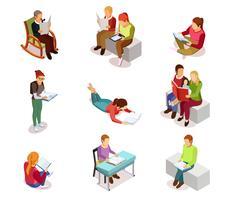 Isometirc Reading People Icon Set