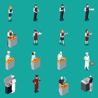Set isométrique du personnel de restaurant