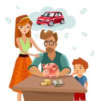 Affiche plate de plan financier de budget de famille