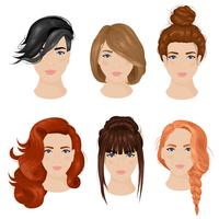 Idées de coiffure femme 6 Collection d'icônes vecteur