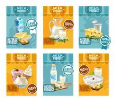 Ensemble de bannières de produits laitiers vecteur