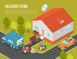 Livraison, déménagement, nouveau, colon, illustration vecteur