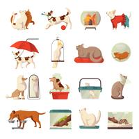 animalerie set d'icônes